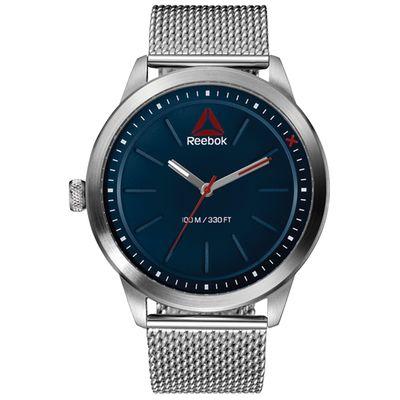1ff80c968 Reloj para caballero de acero inoxidable, color acero, con detalles azul  navy y excellent red. Resistencia al agua de 10 ATM.